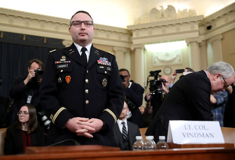 FLt Colonel Vindman testifies at House Intelligence Committee hearing on Trump impeachment inquiry on Capitol Hill in Washington