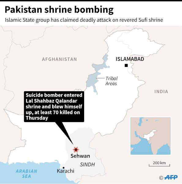 Map of Pakistan locating the area where a revered Sufi shrine was hit by a suicide bombing Thursday, leaving at least 70 people dead (AFP Photo/AFP  )