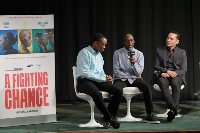 """Tsepo Mathibelle (center) speaks during the premiere of the documentary """"A Fighting Chance"""". (Getty)"""