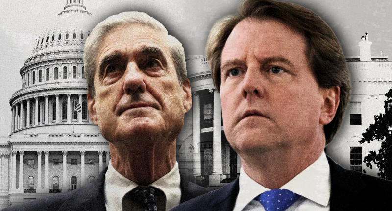 Robert Mueller and Don McGahn. (Photo illustration: Yahoo News; photos: AP)