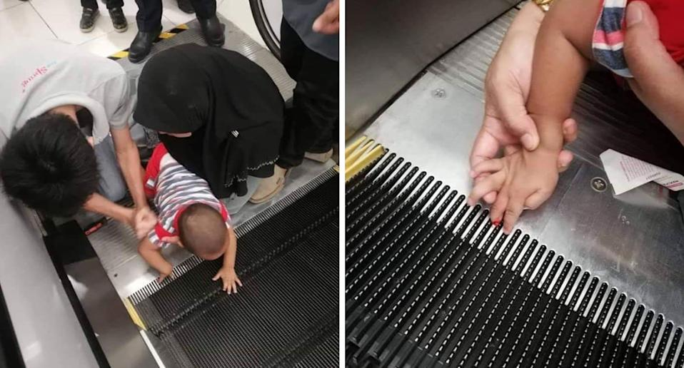 Pictures show a toddler with his fingers caught in a Malaysian shopping centre escalator.