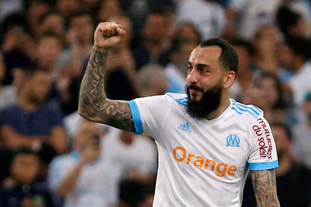 Soccer Football - Ligue 1 - Olympique de Marseille vs Amiens SC - Orange Velodrome, Marseille, France - May 19, 2018 Marseille's Konstantinos Mitroglou celebrates scoring their second goal REUTERS/Philippe Laurenson