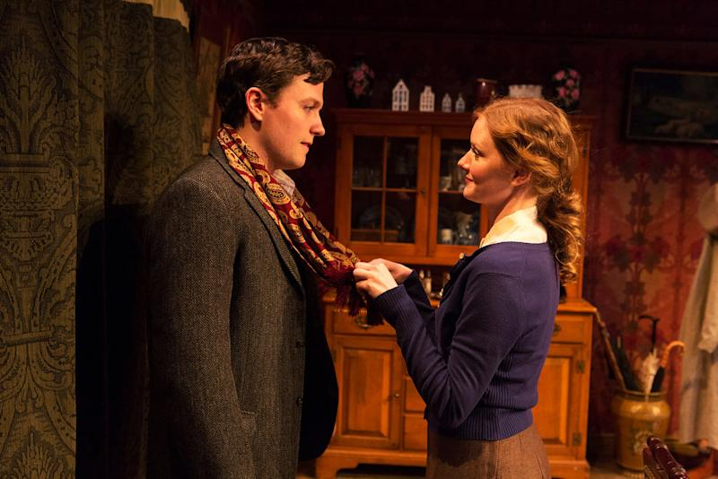 """This publicity photo released by David Gersten & Associates shows Jon Fletcher, left, and Wrenn Schmidt, in a scene from """"Katie Roche,"""" currently performing off-Broadway at the Mint Theater in New York.  AP Photo/David Gersten & Associates, Richard Termine)"""