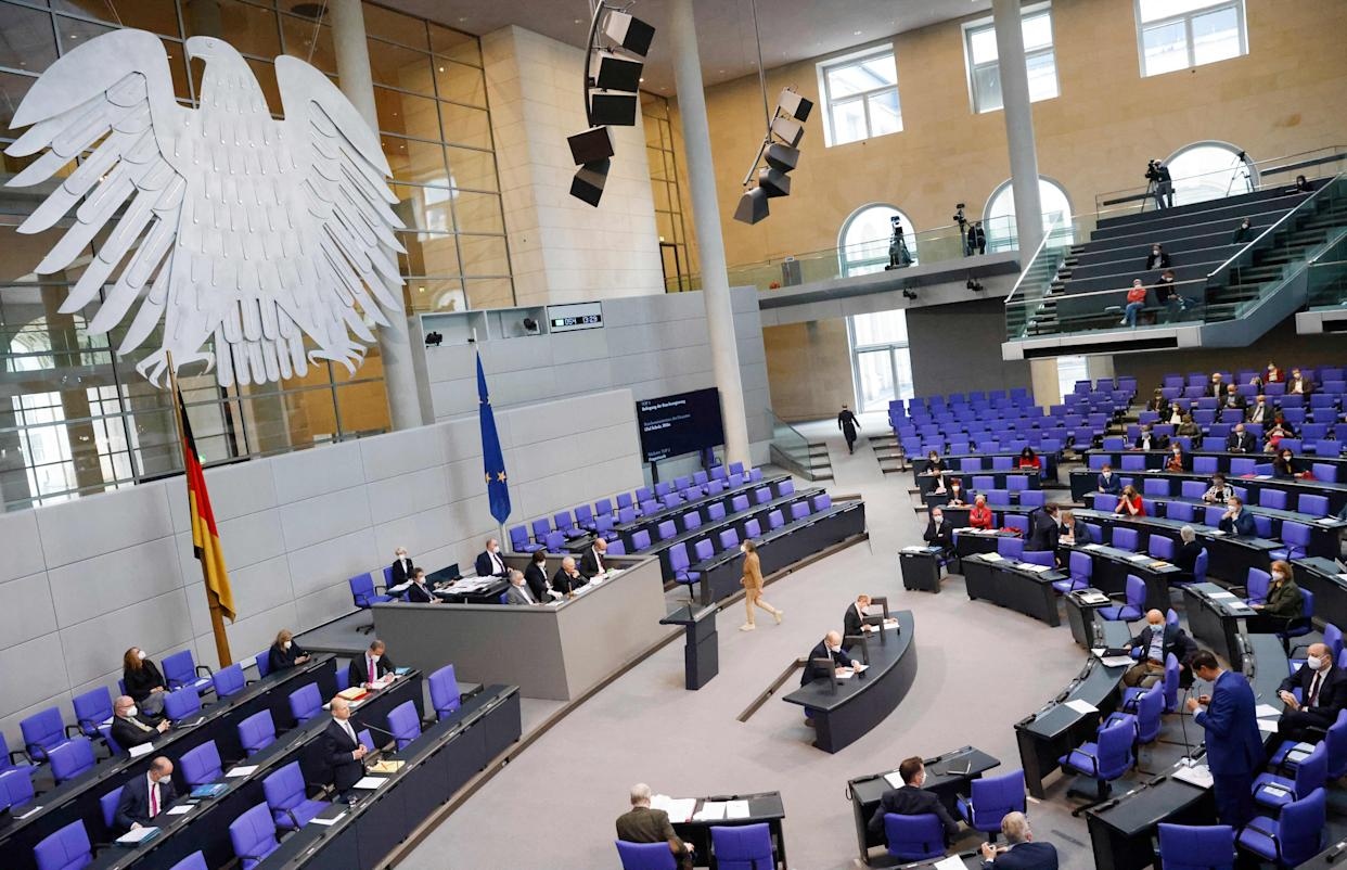 General view as German Finance Minister and Vice-Chancellor Olaf Scholz (3rdL) answers questions during a session at the Bundestag (lower house of parliament) on May 19, 2021 in Berlin. (Photo by Odd ANDERSEN / AFP) (Photo by ODD ANDERSEN/AFP via Getty Images)