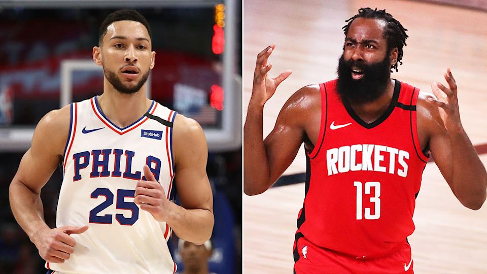 Pictured here, 76ers guard Ben Simmons and Houston Rockets star James Harden.