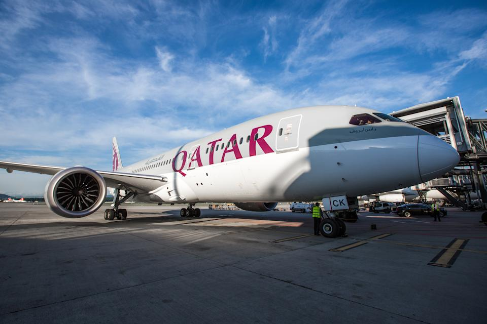 Zurich, Switzerland - June 19, 2013:  Qatar Airways Boeing 787 Dreamliner parked at Zurich International Airport. Qatar Airways Group employs more than 40,000 people, of whom 24,000 work directly for Qatar Airways. The carrier has been a member of the Oneworld alliance since October 2013, the first Gulf carrier to sign with one of the three airline alliances.