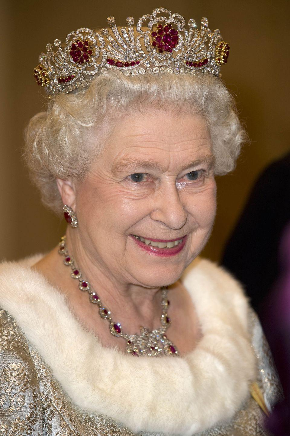 <p>The Queen had the Burmese Ruby tiara made by Garrard in 1973. It features 96 rubies that were gifted to her by Burma (now Myanmar) when she married the Duke of Edinburgh in 1947. The diamonds were also a wedding gift, from the Nizam of Hyderabad, the monarch of the Indian state of Hyderabad.</p>
