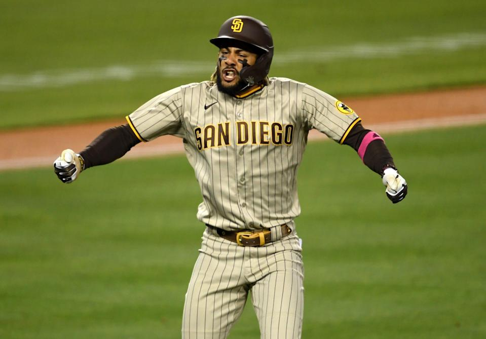 San Diego Padres shortstop Fernando Tatis Jr. reacts as he looks into the dugout after hitting his second home run of the game against Los Angeles Dodgers pitcher Trevor Bauer on April 24.