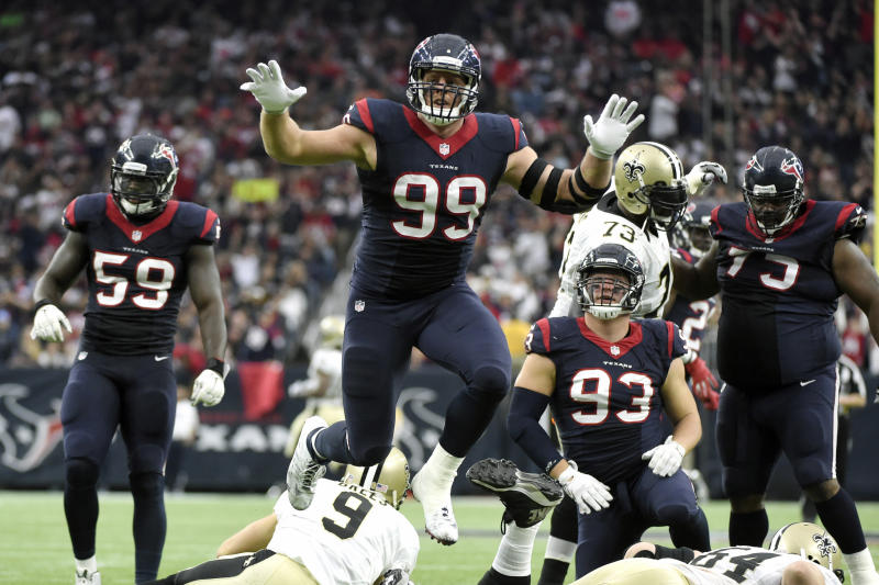 FILE - In this Nov. 29, 2015, file photo, Houston Texans defensive end J.J. Watt (99) leaps after sacking New Orleans Saints quarterback Drew Brees (9) during the third quarter of an NFL football game in Houston. J.J. Watt was selected to the 2010s NFL All-Decade Team announced Monday, April 6, 2020, by the NFL and the Pro Football Hall of Fame. (AP Photo/Eric Christian Smith, File)