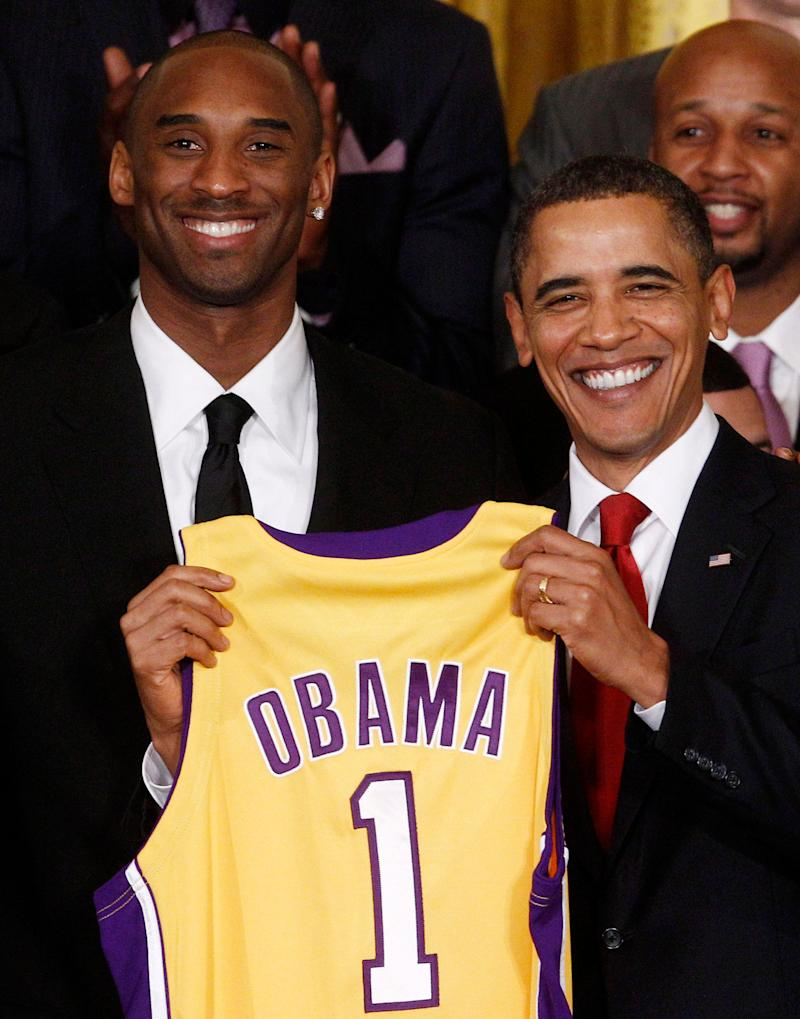 President Barack Obama, right, and Kobe Bryant, left, during a ceremony honoring the 2009 NBA champions, the Los Angeles Lakers, at the White House on Jan. 25, 2010. (Photo: Jim Young / Reuters)