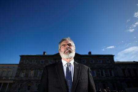 Sinn Fein president Gerry Adams poses for a photograph after an interview with Reuters at Government buildings in Dublin