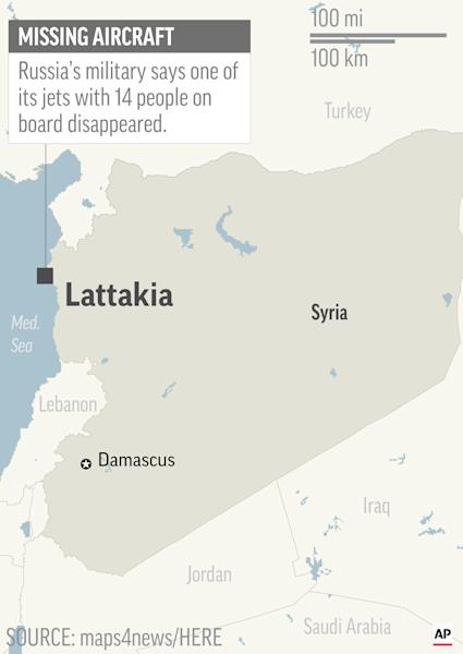<p> Map locates Lattakia, Syria, where Russian military says one of its jets disappeared; 1c x 2 1/2 inches; 46.5 mm x 63 mm; </p>