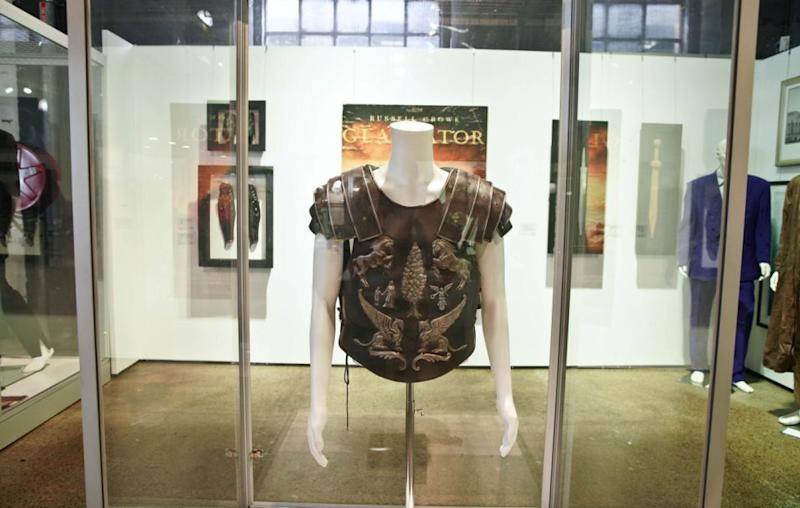 A breastplate from his film Gladiator went for $125,000. Source: AAP