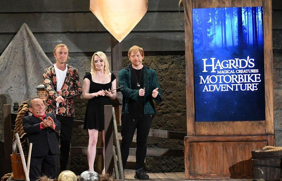 <p>Professor Flitwick, Draco Malfoy, Luna Lovegood and Ron Weasley all came together for the unveiling of Hagrid's Magical Creatures Motorbike Adventure at the Wizarding World of Harry Potter in Orlando.</p>