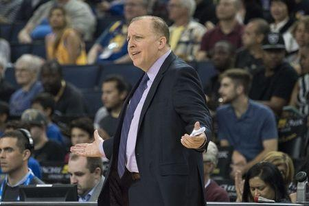 September 29, 2018; Oakland, CA, USA; Minnesota Timberwolves head coach Tom Thibodeau during the second quarter against the Golden State Warriors at Oracle Arena. Mandatory Credit: Kyle Terada-USA TODAY Sports