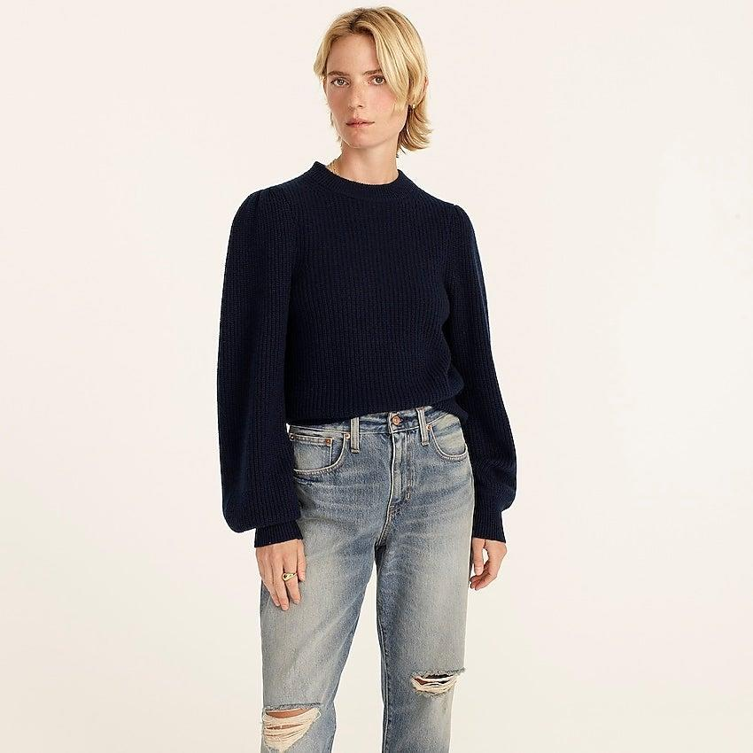 """<br><br><strong>J. Crew</strong> Cashmere puff-sleeve mockneck sweater, $, available at <a href=""""https://go.skimresources.com/?id=30283X879131&url=https%3A%2F%2Fwww.jcrew.com%2Fp%2Fwomens%2Fcategories%2Fclothing%2Fsweaters%2Fpullovers%2Fcashmere-puff-sleeve-mockneck-sweater%2FBA382"""" rel=""""nofollow noopener"""" target=""""_blank"""" data-ylk=""""slk:J. Crew"""" class=""""link rapid-noclick-resp"""">J. Crew</a>"""