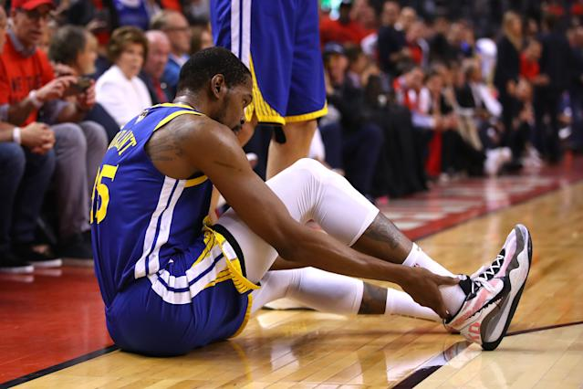 Kevin Durant's Achilles injury sent shockwaves across sports, not just the NBA. (Getty Images)