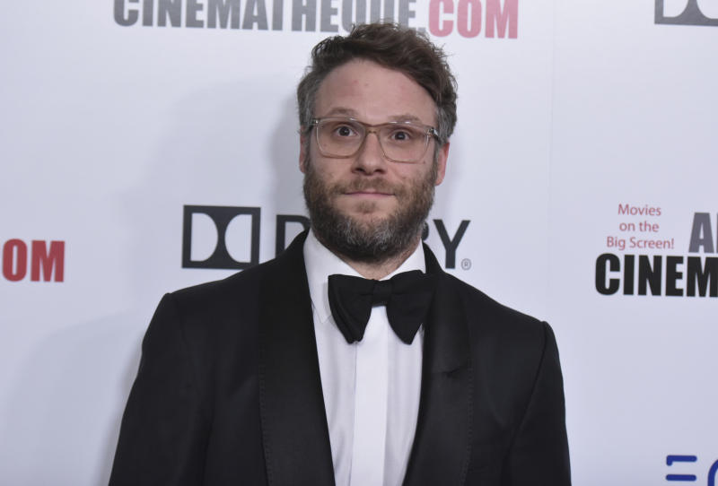 Seth Rogen arrives at the 33rd American Cinematheque Award honoring Charlize Theron at the Beverly Hilton Hotel on Friday, Nov. 8, 2019, in Beverly Hills, Calif. (Photo by Richard Shotwell/Invision/AP)
