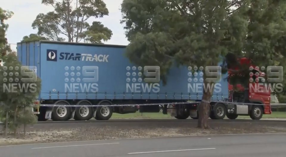 A truck pictured on Princes Highway at Corio.