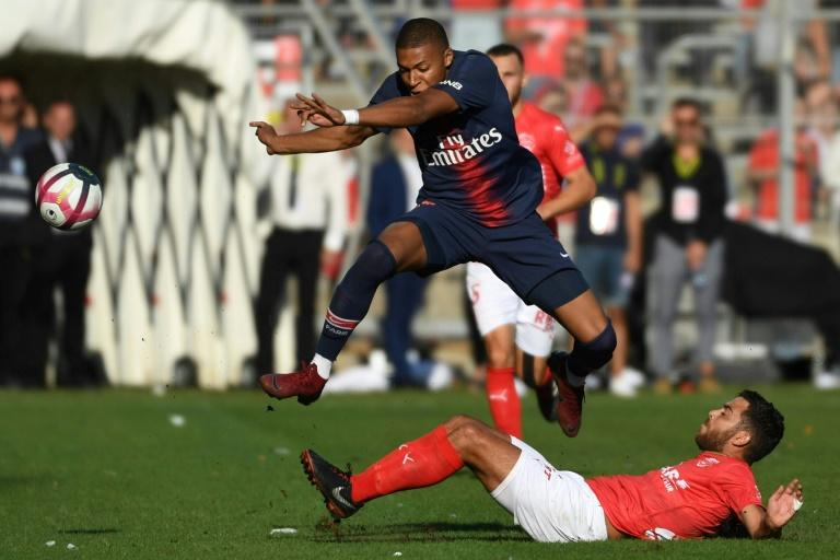 Kylian Mbappe was sent off in PSG's win at Nimes two weeks ago after reacting to a challenge by Teji Savanier