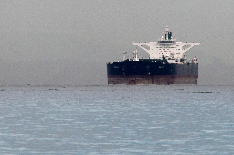 """FILE PHOTO: Iranian crude oil supertanker """"Delvar"""" is seen anchored off Singapore"""