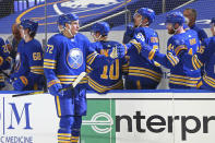 Buffalo Sabres forward Tage Thompson (72) celebrates his goal during the second period of an NHL hockey game against the Pittsburgh Penguins, Saturday, April 17, 2021, in Buffalo, N.Y. (AP Photo/Jeffrey T. Barnes)