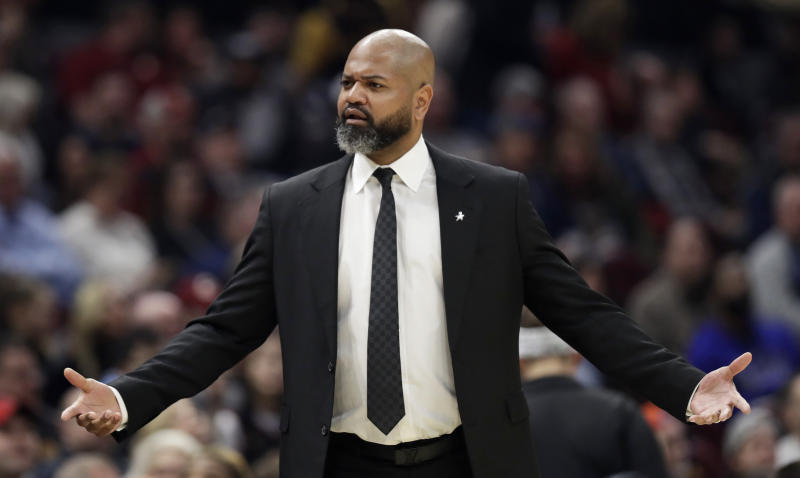 Cleveland Cavaliers head coach J.B. Bickerstaff reacts in the second half of an NBA basketball game against the Dallas Nuggets, Saturday, March 7, 2020, in Cleveland. The Cavaliers won 104-102. (AP Photo/Tony Dejak)