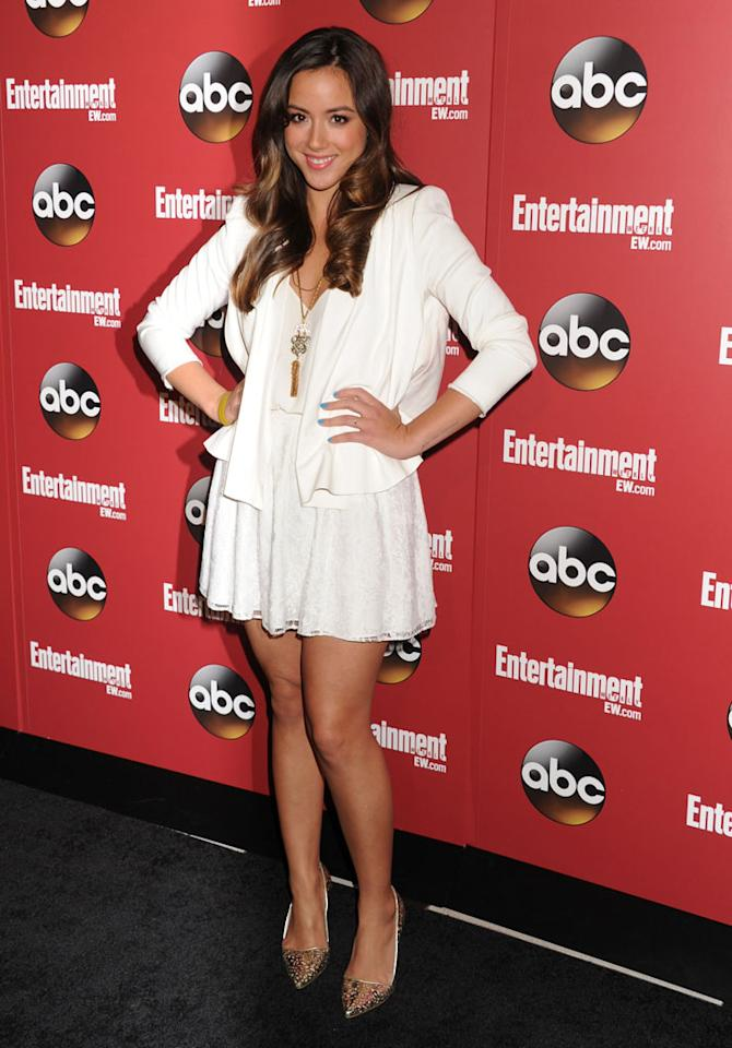 "Chloe Bennet (""Marvel's Agents of S.H.I.E.L.D."") attends the Entertainment Weekly & ABC 2013 New York Upfront Party at The General on May 14, 2013 in New York City."
