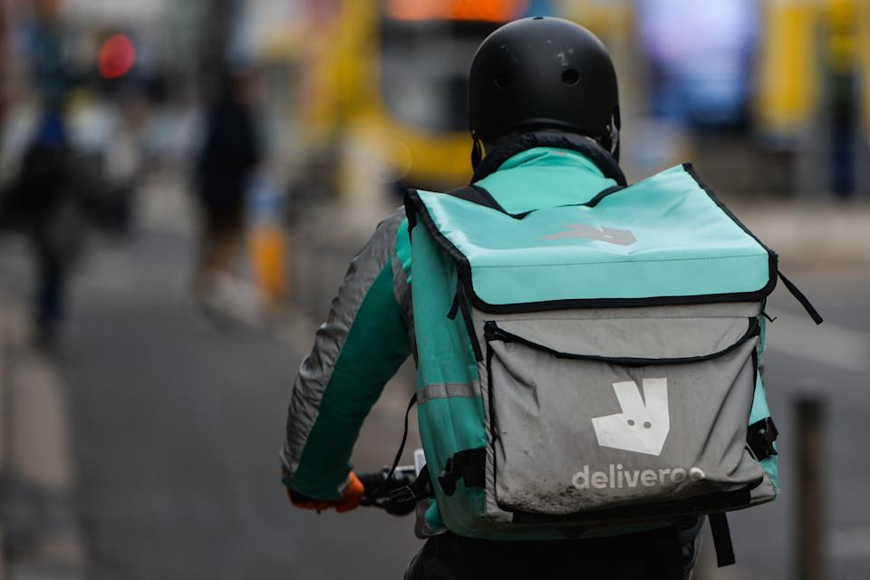 A Deliveroo courier seen in Dublin city center during Level 5 Covid-19 lockdown.  On Friday, 15 January, 2021, in Dublin, Ireland. (Photo by Artur Widak/NurPhoto via Getty Images)