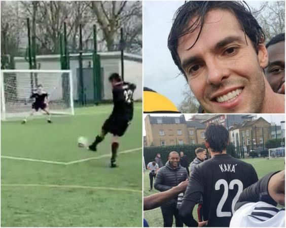 Kaka's team went on to win the match 4-2