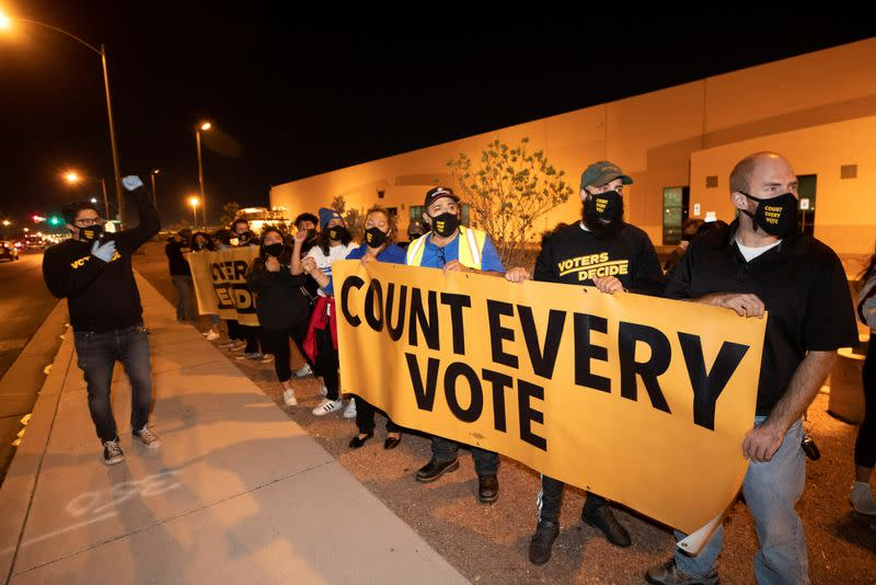 """FILE PHOTO: """"Stop the Steal"""" protest at the Clark County Election Center in North Las Vegas"""