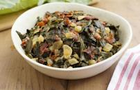 """<p>Like cornbread and tamales, collard greens are a necessity on Thanksgiving tables in the South. For this recipe, the traditional dish is served with crispy bacon, which you get by <a href=""""https://www.thedailymeal.com/cook/how-render-bacon-fat?referrer=yahoo&category=beauty_food&include_utm=1&utm_medium=referral&utm_source=yahoo&utm_campaign=feed"""" rel=""""nofollow noopener"""" target=""""_blank"""" data-ylk=""""slk:rendering out the fat"""" class=""""link rapid-noclick-resp"""">rendering out the fat</a>.</p> <p><a href=""""https://www.thedailymeal.com/recipes/collard-greens-bacon-recipe-0?referrer=yahoo&category=beauty_food&include_utm=1&utm_medium=referral&utm_source=yahoo&utm_campaign=feed"""" rel=""""nofollow noopener"""" target=""""_blank"""" data-ylk=""""slk:For the Collard Greens recipe, click here."""" class=""""link rapid-noclick-resp"""">For the Collard Greens recipe, click here.</a></p>"""