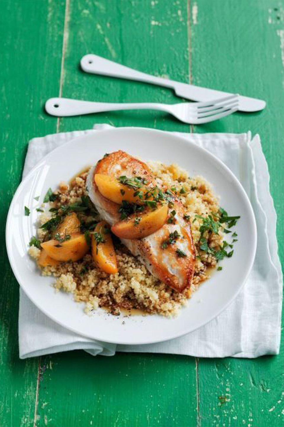 """<p>Sweet summer peaches perfectly complement juicy, seared chicken breast.</p><p><strong><a href=""""http://www.womansday.com/food-recipes/food-drinks/recipes/a55776/chicken-with-peaches-and-ginger-recipe/"""" rel=""""nofollow noopener"""" target=""""_blank"""" data-ylk=""""slk:Get the recipe"""" class=""""link rapid-noclick-resp"""">Get the recipe</a>.</strong></p>"""
