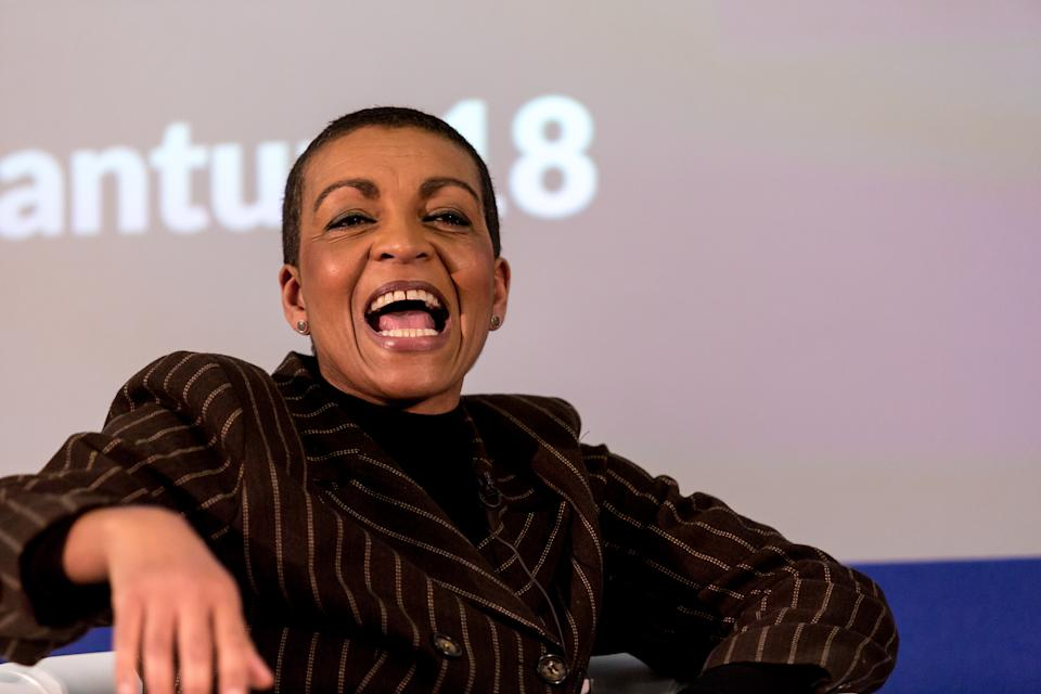 Adjoa Andoh, actress in conversation with Lorelei King at the Quantum: Inspiration Informed by Data Conference, during the London Book Fair in Olympia Centre in London, UK, on April 9, 2018.(Photo by Dominika Zarzycka/NurPhoto via Getty Images)
