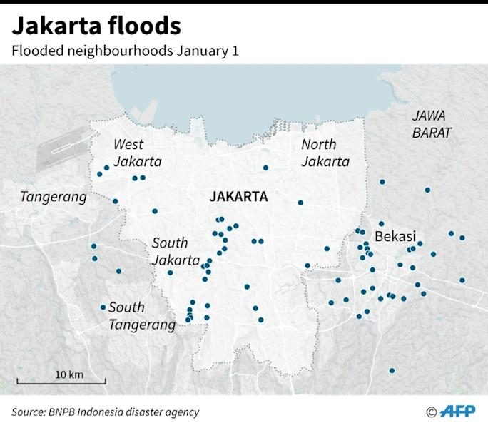 Map of Jakarta showing the areas affected by flooding (AFP Photo/)