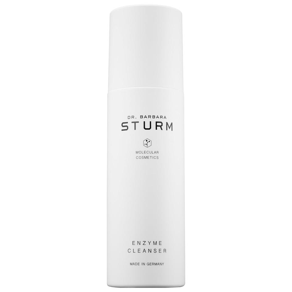 """<p>The <a href=""""https://www.popsugar.com/buy/Dr-Barbara-Sturm-Darker-Skin-Tones-Enzyme-Cleanser-552192?p_name=Dr.%20Barbara%20Sturm%20Darker%20Skin%20Tones%20Enzyme%20Cleanser&retailer=sephora.com&pid=552192&price=75&evar1=bella%3Aus&evar9=47258867&evar98=https%3A%2F%2Fwww.popsugar.com%2Fbeauty%2Fphoto-gallery%2F47258867%2Fimage%2F47260329%2FDr-Barbara-Sturm-Darker-Skin-Tones-Enzyme-Cleanser&list1=beauty%20products%2Csephora%2Ccleanser%2Ceditors%20pick%2Cbeauty%20shopping%2Cskin%20care%2Cdr.%20barbara%20sturm&prop13=mobile&pdata=1"""" rel=""""nofollow"""" data-shoppable-link=""""1"""" target=""""_blank"""" class=""""ga-track"""" data-ga-category=""""Related"""" data-ga-label=""""https://www.sephora.com/product/dr-barbara-sturm-darker-skin-tones-enzyme-cleanser-P448546?icid2=products%20grid:p448546"""" data-ga-action=""""In-Line Links"""">Dr. Barbara Sturm Darker Skin Tones Enzyme Cleanser</a> ($75) is formulated for melanin-rich skin tones to tackle inflammation and hyperpigmentation as it cleans and lightly peels.</p>"""