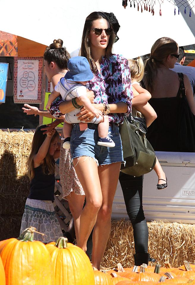 Alessandra Ambrosio showed off her amazing legs and assets as she played with her children and fiancee at the Pumpkin Patch in West Hollywood. 