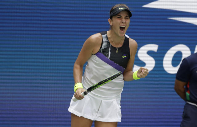 Belinda Bencic, of Switzerland, pumps her fist after winning a point against Donna Vekic, of Croatia, during the quarterfinals of the U.S. Open tennis championships Wednesday, Sept. 4, 2019, in New York. (AP Photo/Frank Franklin II)