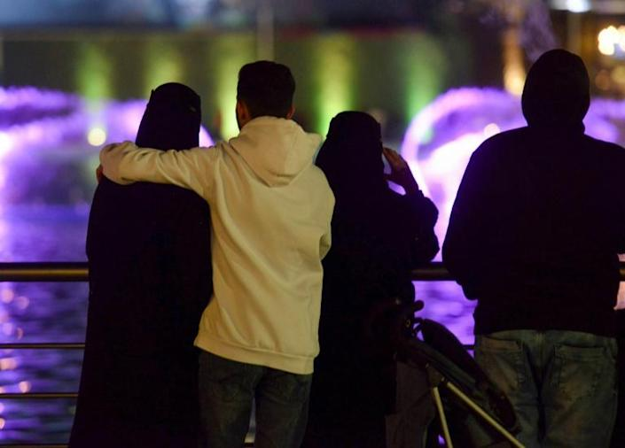 Amid a liberalisation drive in Saudi Arabia, young couples are increasingly seen mixing in public, and a new, even if risky, dating culture is taking root (AFP Photo/FAYEZ NURELDINE)