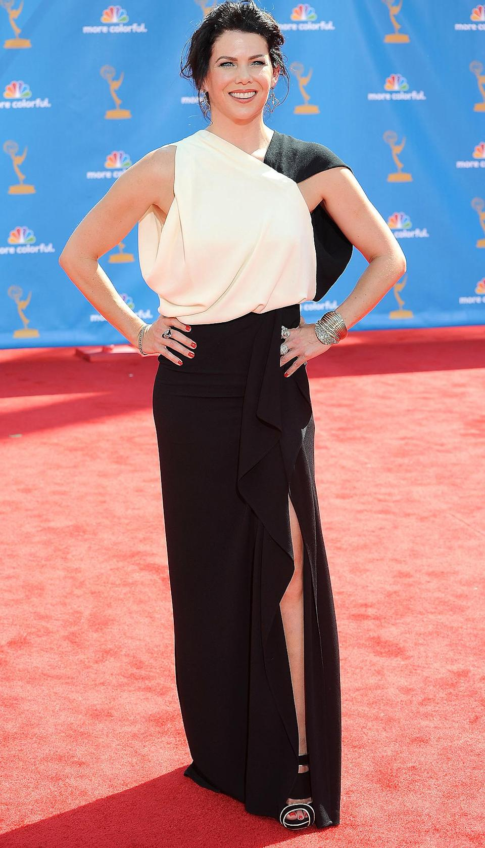 <p>Lauren Graham, then starring in her new series <em>Parenthood</em>, rocked a colorblock gown to present an award at the event.</p>