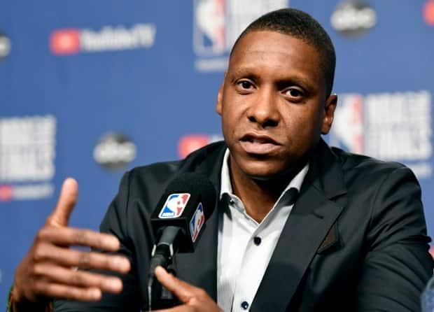 An Alameda County sheriff's deputy has dropped his federal lawsuit against Masai Ujiri, seen here on May 29, 2019.