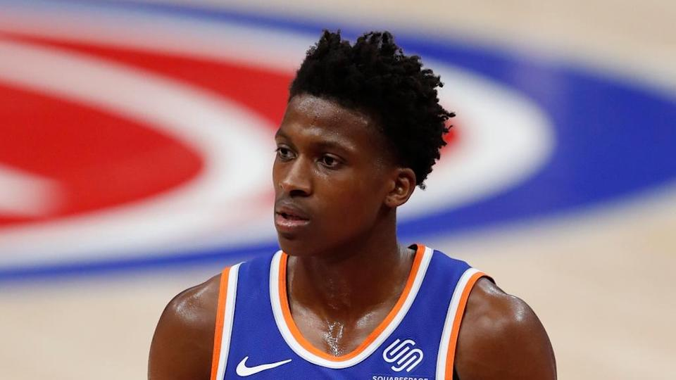 Frank Ntilikina walks off court vs. Pistons