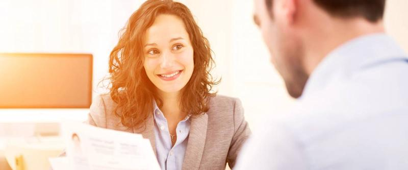 young woman at a job interview