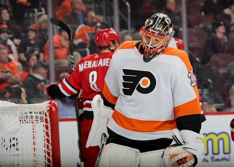 PHILADELPHIA, PENNSYLVANIA - JANUARY 03: Michal Neuvirth #30 of the Philadelphia Flyers reacts after giving up a goal to Teuvo Teravainen #86 of the Carolina Hurricanes in the third period at Wells Fargo Center on January 03, 2019 in Philadelphia, Pennsylvania. The Carolina Hurricanes defeated the Philadelphia Flyers 5-3. (Photo by Elsa/Getty Images)