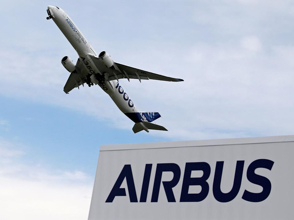 FILE PHOTO: An Airbus A350-1000 performs during the 53rd International Paris Air Show at Le Bourget Airport near Paris, France June 18, 2019. REUTERS/Pascal Rossignol/File Photo