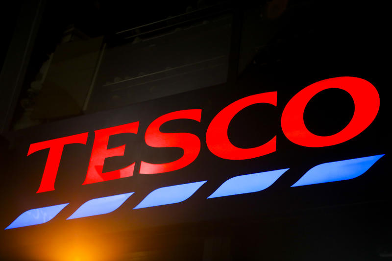 Logo of Tesco is pictured in the street of London, United Kingdom, on 11 December, 2019. (Photo by Beata Zawrzel/NurPhoto via Getty Images)