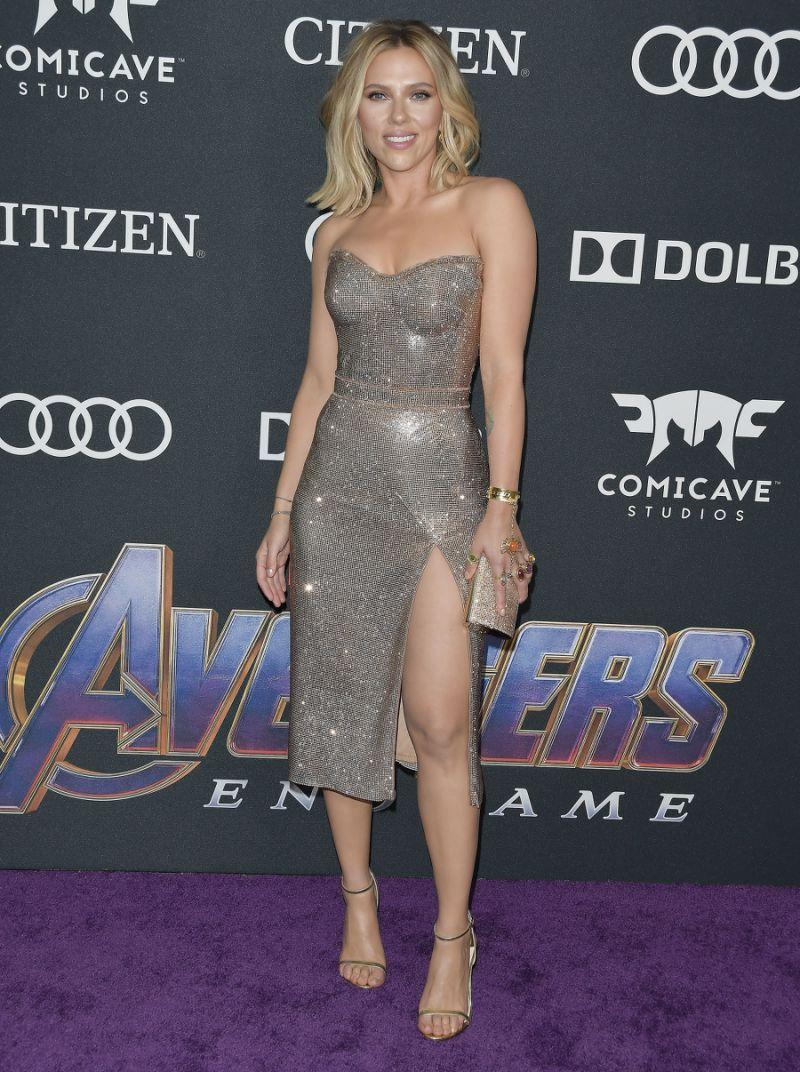 Scarlett Johansson wore a Versace bustier style dress. [Photo: PA]