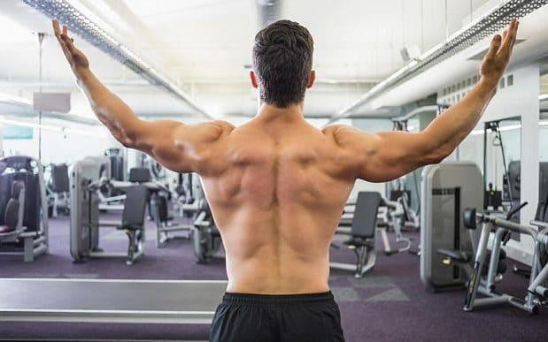 Muscly backed burly man in gym - Credit: Alamy