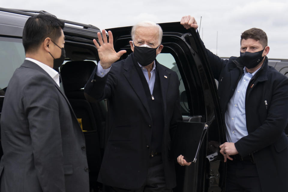 President-elect Joe Biden arrives to board his plane at New Castle Airport in New Castle, Del., Monday, Jan. 4, 2021, en route to Atlanta to campaign for Georgia Democratic candidates for U.S. Senate, Rev. Raphael Warnock and Jon Ossoff. (AP Photo/Carolyn Kaster)