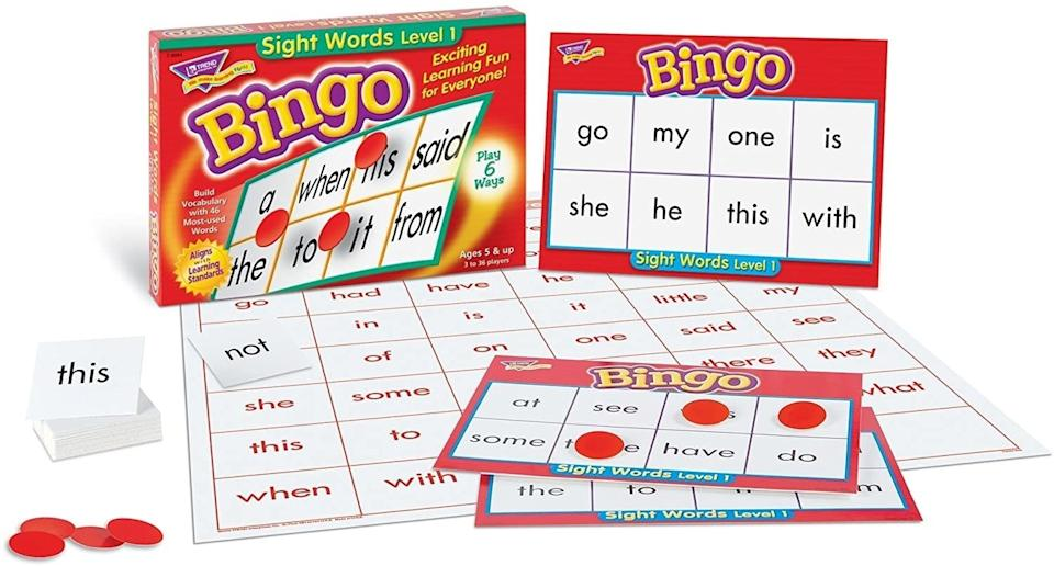 """Add some fun to those frustrating early reader lessons with this game. Your child might not even realize that they're actually learning.<br /><br /><strong>Promising review:</strong>""""Our first-grader was feeling really discouraged with her sight words, and I've been trying to think of ways to encourage her and get her excited to learn things she doesn't already know. She loved this game! We played with the whole family and the 3-year-old even enjoyed playing (we show her the cards and have her find the word that matches on her bingo card).<strong>I think this is a great way to make learning/practicing sight words fun!</strong>I am very happy with this purchase and I can see how it would be great for teachers in the classroom as well!!"""" —<a href=""""https://www.amazon.com/gp/customer-reviews/R17F2KN8F1PS60?&linkCode=ll2&tag=huffpost-bfsyndication-20&linkId=f88a0a29ce4b99779353c7a3d15c01e2&language=en_US&ref_=as_li_ss_tl"""" target=""""_blank"""" rel=""""nofollow noopener noreferrer"""" data-skimlinks-tracking=""""5750537"""" data-vars-affiliate=""""Amazon"""" data-vars-href=""""https://www.amazon.com/gp/customer-reviews/R17F2KN8F1PS60?tag=bfmal-20&ascsubtag=5750537%2C21%2C33%2Cmobile_web%2C0%2C0%2C0"""" data-vars-keywords=""""cleaning,fast fashion"""" data-vars-link-id=""""0"""" data-vars-price="""""""" data-vars-retailers=""""Amazon"""">Jennie</a><br /><br /><strong>Get it from Amazon for<a href=""""https://www.amazon.com/Trend-Young-Learner-Sightwords-T6064/dp/B007YCMCIA?&linkCode=ll1&tag=huffpost-bfsyndication-20&linkId=d936b70b8e089472b4c252098cedd35f&language=en_US&ref_=as_li_ss_tl"""" target=""""_blank"""" rel=""""nofollow noopener noreferrer"""" data-skimlinks-tracking=""""5750537"""" data-vars-affiliate=""""Amazon"""" data-vars-asin=""""B007YCMCIA"""" data-vars-href=""""https://www.amazon.com/dp/B007YCMCIA?tag=bfmal-20&ascsubtag=5750537%2C21%2C33%2Cmobile_web%2C0%2C0%2C16108028"""" data-vars-keywords=""""cleaning,fast fashion"""" data-vars-link-id=""""16108028"""" data-vars-price="""""""" data-vars-product-id=""""18007888"""" data-vars-product-img=""""https://m.media-amazon.com/images/"""